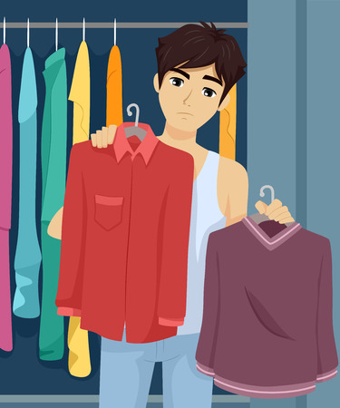 Illustration of a Teenage Guy Choosing Among the Clothes from His Wardrobe