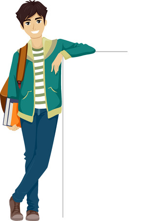 r boy: Ilustración de un adolescente que se inclina contra una Junta en blanco
