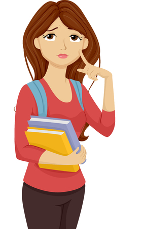 hesitation: Illustration of a Female Teenage Student Thinking to Herself Stock Photo