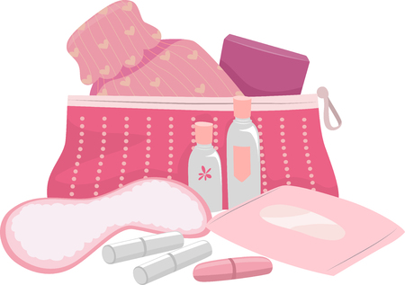 puberty: Illustration of a Complete Puberty Kit for Teenage Girls