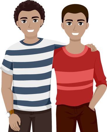 male teenager: Illustration of Teenage Best Friends Chilling Together