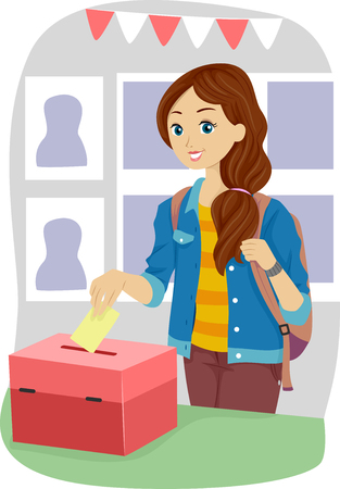 Illustration of a Teenage Girl Casting Her Vote