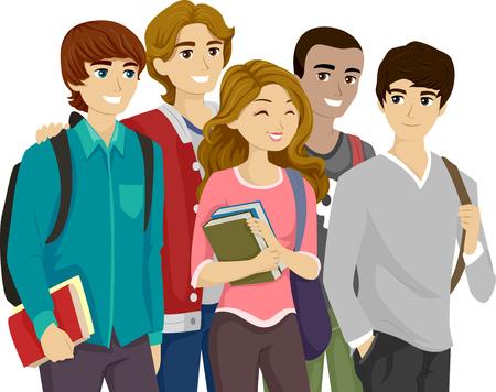 Ilustração de uma menina Popular Rodeado por rapazes adolescentes