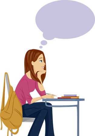 niña pensando: Ilustración de un adolescente femenino soñar despierto en clase