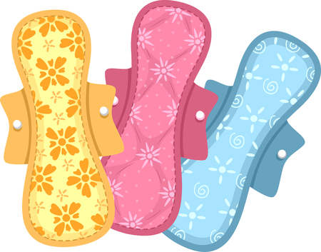 cloths: Illustration of Colorful Sanitary Pads Made of Cloth