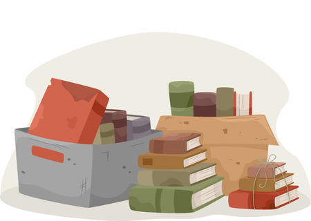 art book: Illustration of Old Books Being Prepared to be Donated