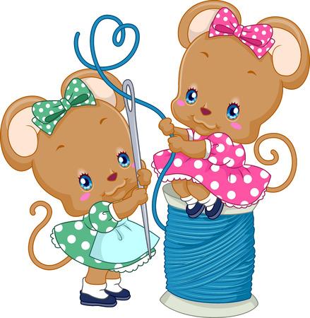 바늘을 실을 때 귀여운 쥐 한 쌍의 그림
