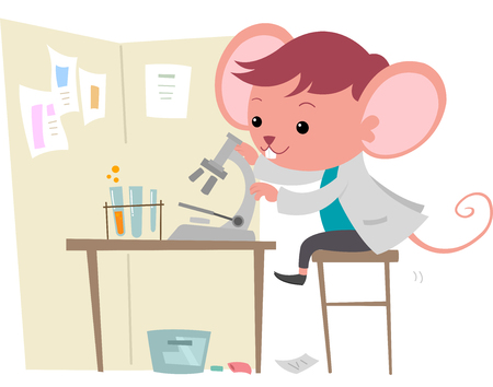 observing: Illustration of a Cute Mouse Observing Things Under a Microscope