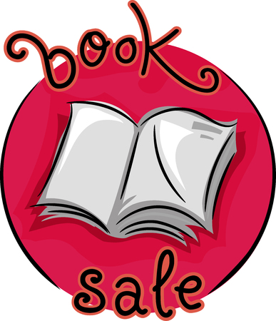 thrift: Icon Illustration Featuring an Open Book with the Words Book Sale Written Around it