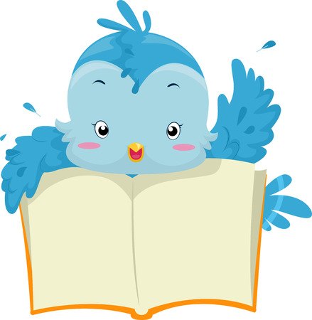 open book: Illustration of a Blue Bird Holding an Open Book Stock Photo