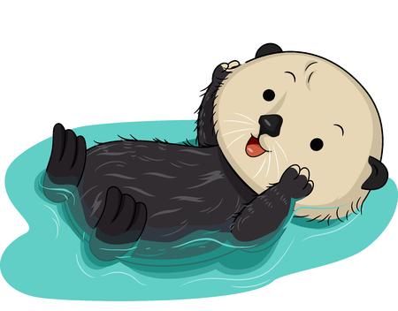 nutria caricatura: Ilustración de una nutria de mar linda flotante sobre el agua