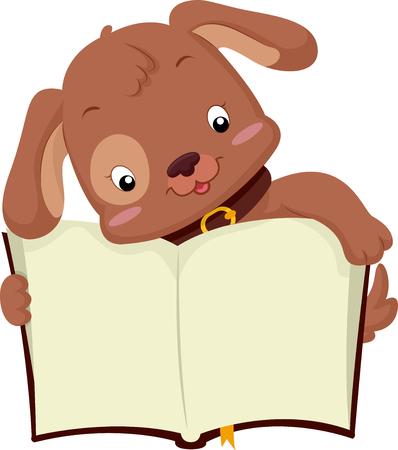 educativo: Ilustración de un perro lindo sostiene un libro abierto Foto de archivo