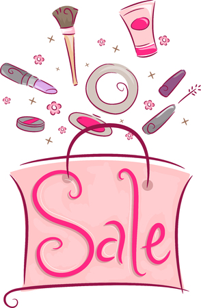 discounted: Illustration of a Shopping Bag Filled with Discounted Cosmetic Products