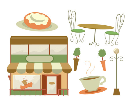 shop furniture: Illustration Featuring a Coffee Shop and Different Furniture Usually Found at a Cafe