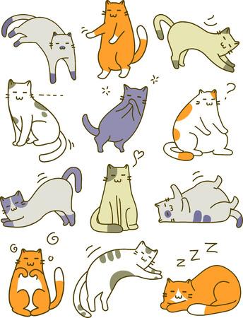 다른 고양이 포즈를 갖춘 스케치 그림 스톡 콘텐츠