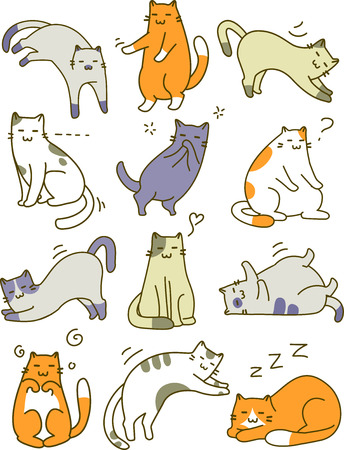 Sketchy Illustration Featuring Different Cat Poses Stock Photo