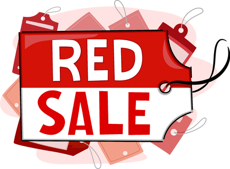 discounted: Illustration Featuring Red Tags for a Mall Sale Stock Photo