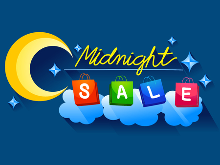 markdown: Illustration Featuring Shopping Bags Spelling Out the Word Midnight Sale Stock Photo