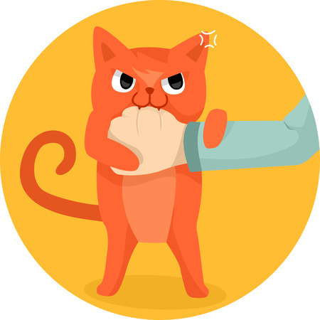 domestic cat: Illustration of a Cute Cat Biting the Hand of a Human