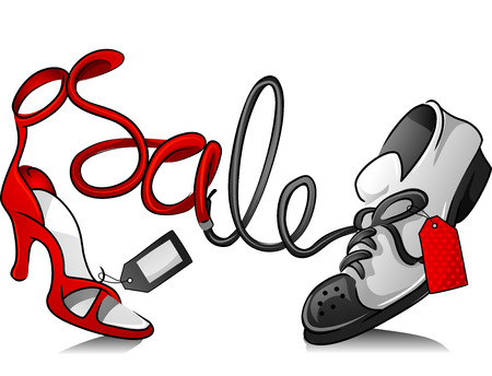 markdown: Illustration Featuring Sneakers and a Stiletto for a Shoe Sale