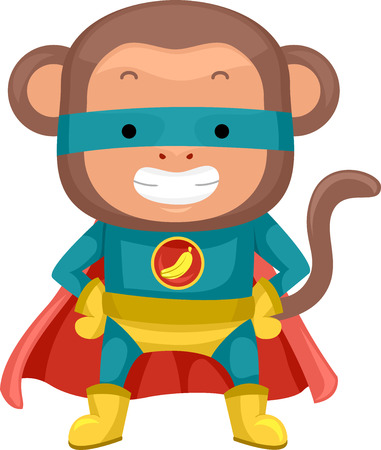 dressed: Illustration of a Cute Monkey Dressed as a Superhero