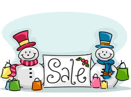 markdown: Illustration of a Happy Snowman Standing Beside a Sale Sign Stock Photo