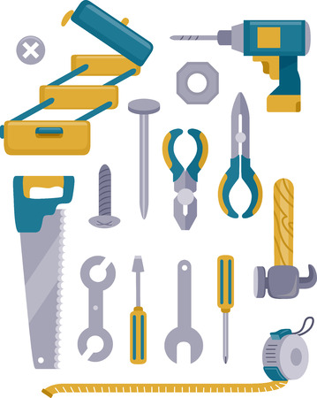 construction projects: Illustration Featuring a Wide Set of Construction Tools Stock Photo
