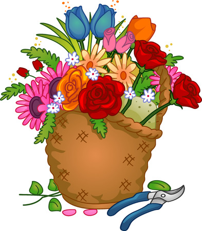 shears: Colorful Illustration of a Basket of Arranged Flowers Stock Photo