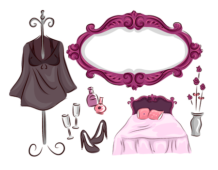 associated: Illustration of a Ladies Bedroom with Different Items Commonly Associated with Women