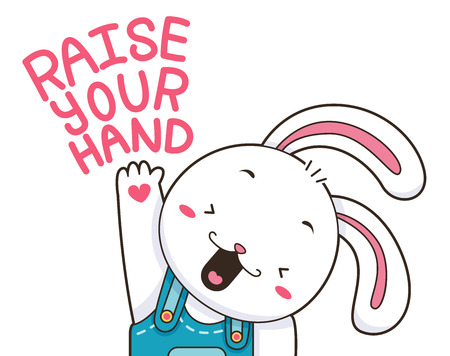 raise your hand: Illustration of a Cute and Happy Bunny Raising its Paw
