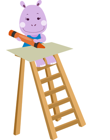 step ladder: Illustration of a Cute Hippo Drawing with a Crayon While Sitting on a Step Ladder Stock Photo