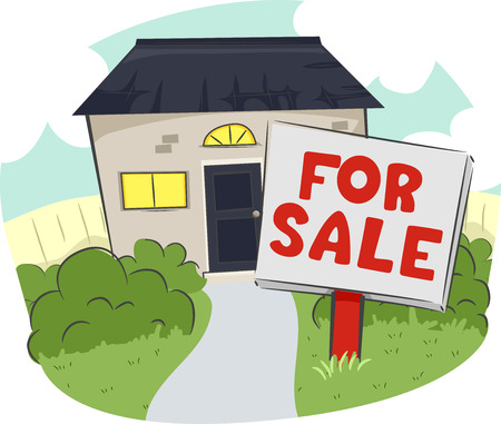 for sale sign: Illustration of a For Sale Sign in Front of a House and Lot