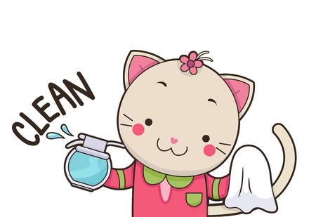 rules: Illustration of a Cute Cat Using a Spray Bottle