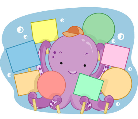 blank sign: Illustration of a Cute Octopus Holding Blank Signs Stock Photo