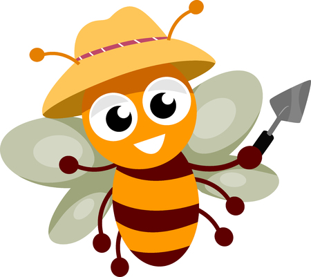 gardening: Illustration of a Happy Bee Wearing a Gardening Hat and Holding a Trowel