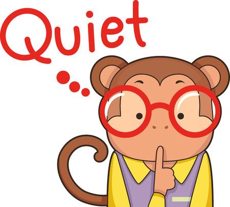 preescolar: Ilustración de un mono lindo Shushing Niños de Down Foto de archivo