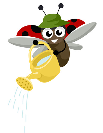 lady beetle: Illustration of a Cute Ladybug Carrying a Watering Can Stock Photo