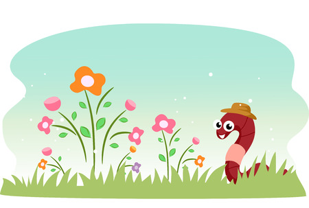 lombriz de tierra: Ilustración de una lombriz de tierra linda en un jardín lleno de flores Foto de archivo