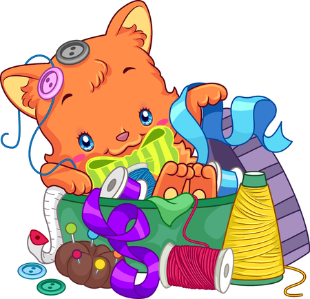 clip arts: Illustration of a Cute Cat Lying on a Pile of Sewing Materials