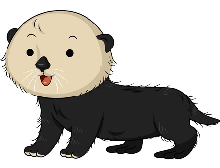 otter: Illustration of a Cute Sea Otter Smiling Happily