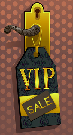 knob: Illustration of a VIP Sale Ticket Hanging from a Golden Door Knob