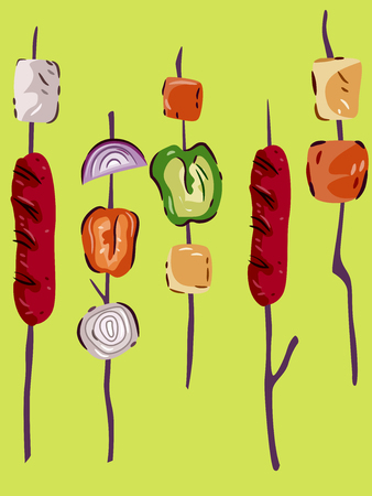 grilled: Illustration Featuring Barbecued Meat and Grilled Hotdogs Stock Photo