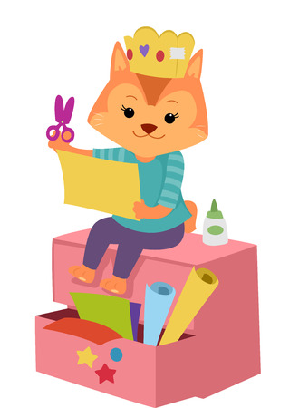 paper art projects: Illustration of a Cute Cat Cutting a Piece of Paper Stock Photo
