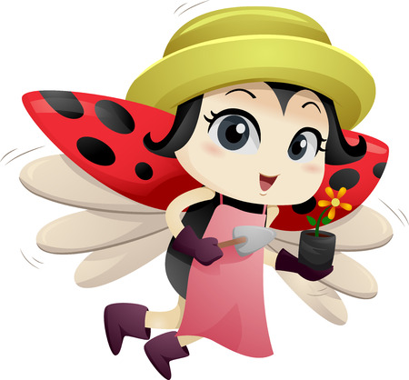 lady beetle: Illustration of a Cute Ladybug Carrying a Flower in a Plastic Container Stock Photo