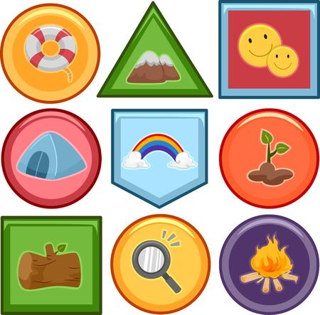 merit: Illustration of a Set of Different Merit Badges Stock Photo