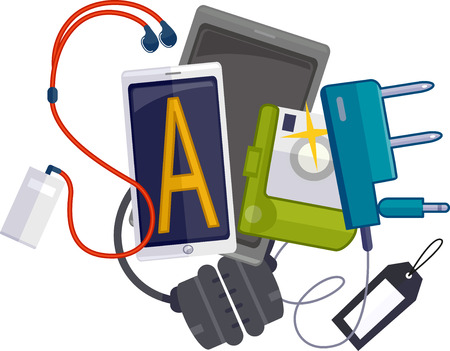 techie: Illustration Featuring Different Gadgets Forming the Word Sale