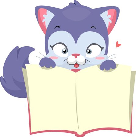 cat open: Illustration of a Cat Holding an Open Book Stock Photo