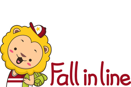 niño preescolar: Ilustración de un león lindo decir a los niños que caer en línea Foto de archivo