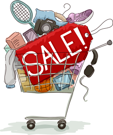 pushcart: Illustration of a Shopping Cart Full of Discounted Items Stock Photo
