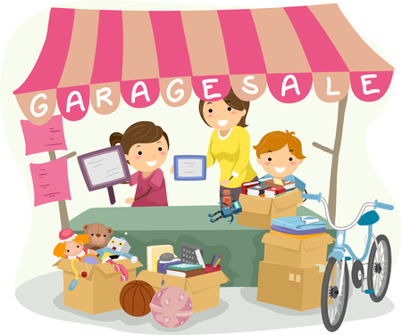 sales: Illustration of Kids Manning a Garage Sale Booth